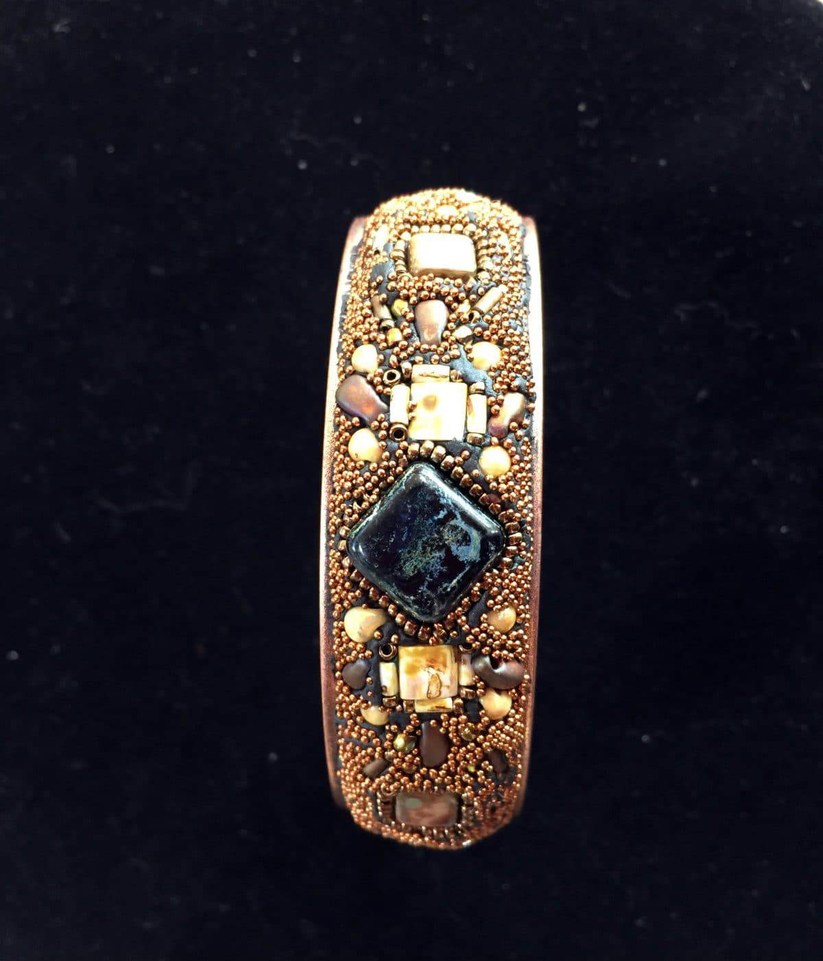Copper and Black Mosaic Channel Cuff Bracelet