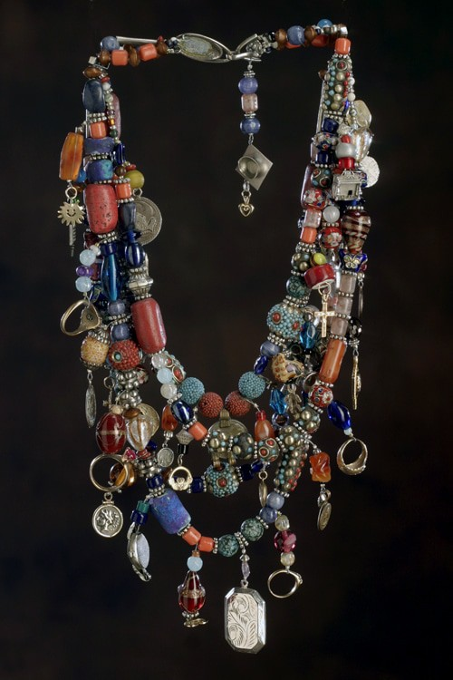 This is the personal treasure necklace of Mary Ellen Merrigan of MaryEllenBeads.com.
