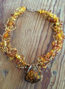 Interconnected Amber Beadweaving necklace with sterling silver and Czech Glass from Mary Ellen Beads Albuquerque.