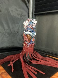This is another view of the beaded talking stick by Mary Ellen Merrigan of MaryEllenBeads.com.