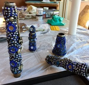 These four pieces make the beaded clarinet by Mary Ellen Merrigan of Mary Ellen Beads Albuquerque.