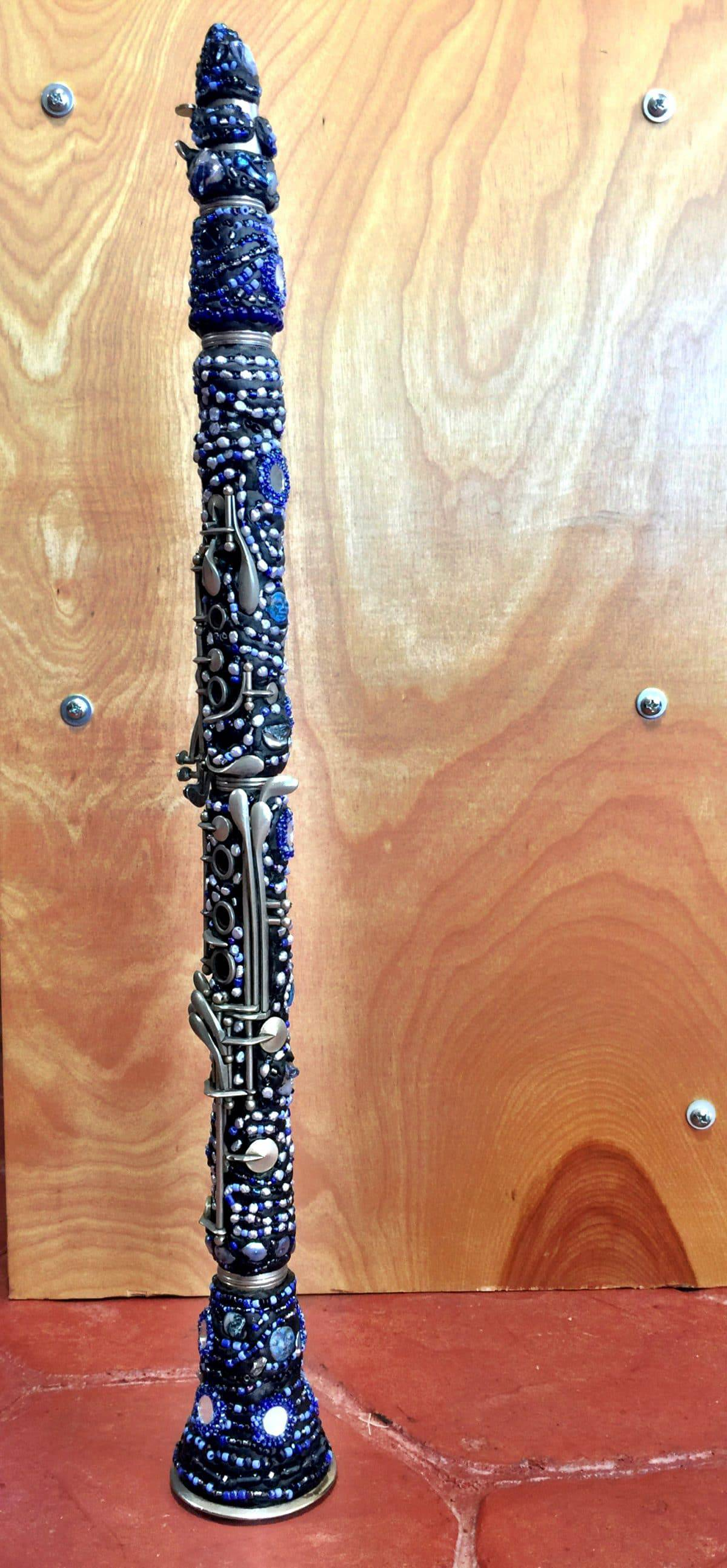 "This ""Rhapsody in Blue"" beaded clarinet is the work of Mary Ellen Merrigan of Mary Ellen Beads Albuquerque."