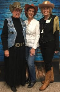 This is a picture of Susan, Mary Ellen Merrigan of Mary Ellen Beads, Albuquerque and Pat at the BSNM Cowgirl Glam party.