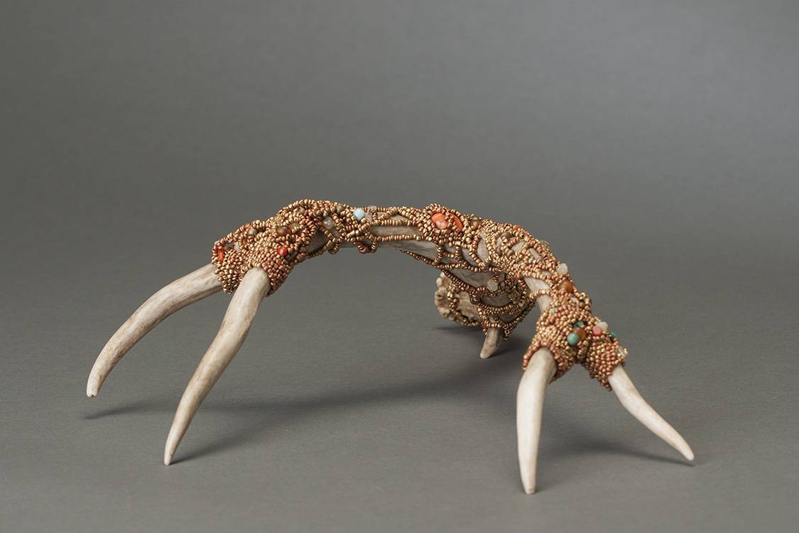 These bronze beaded antlers are from Mary Ellen Beads Albuquerque.