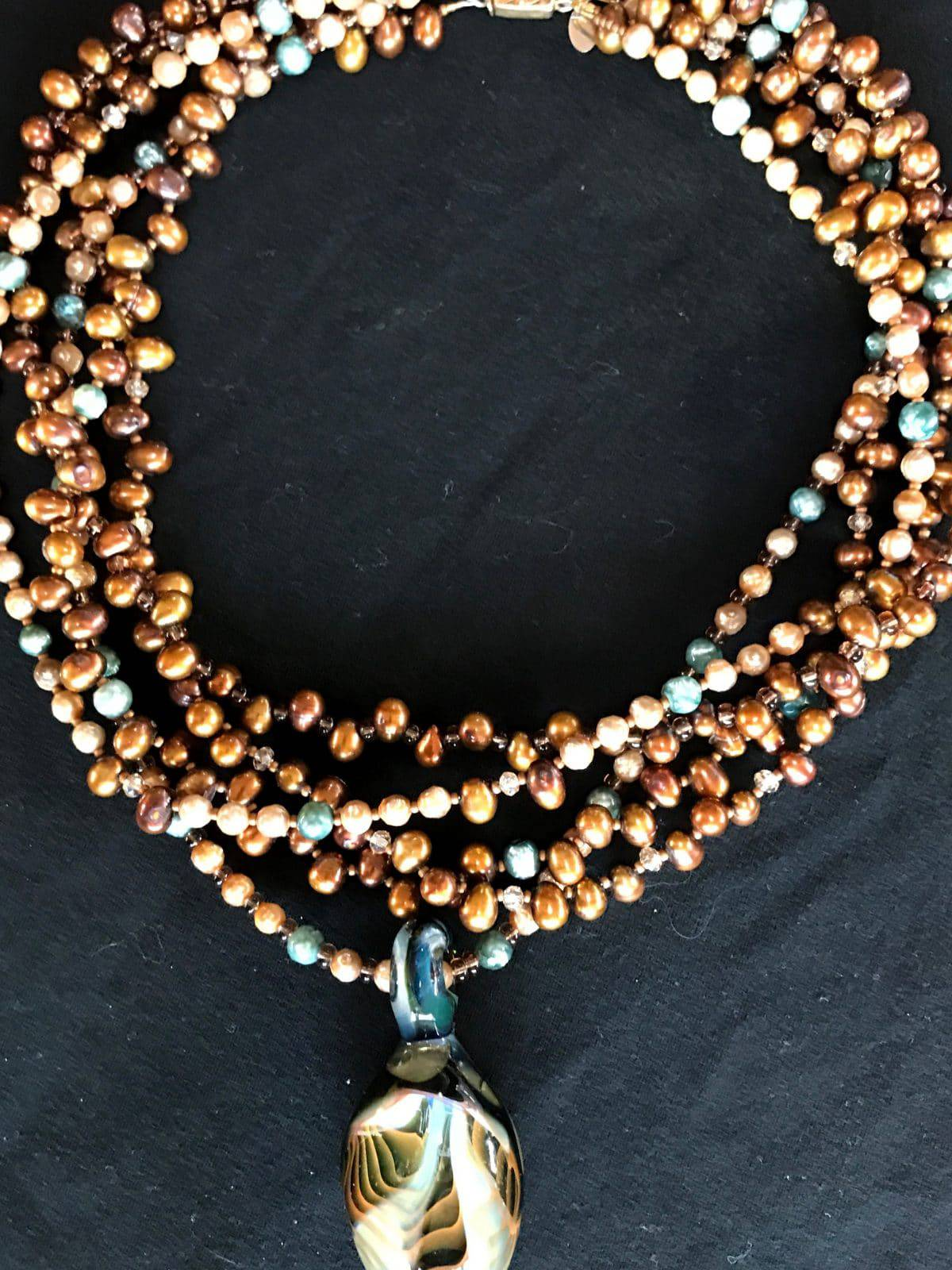 "This five-strand necklace from Mary Ellen Beads Albuquerque screams, ""Party Pretty!"""