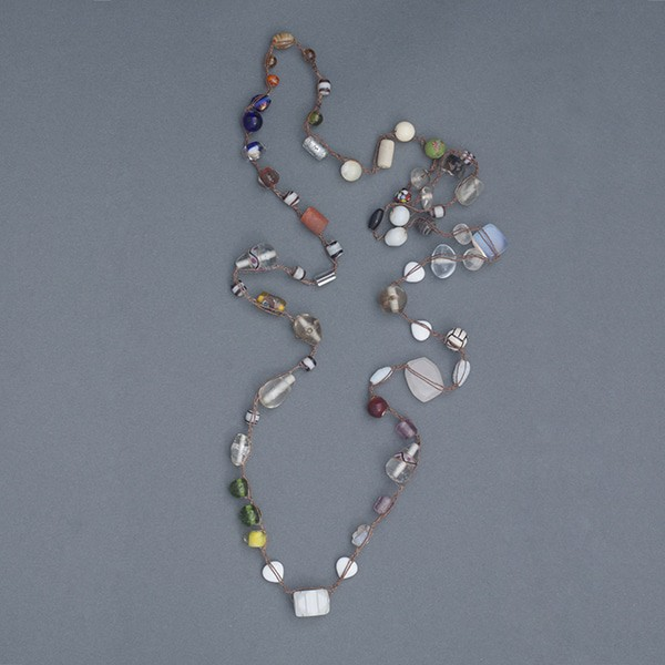 This is an example of the crochet necklace presented by Mary Ellen Beads Albuquerque at Art Unraveled 2017.