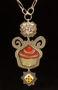 This silversmith cupcake is made by glass bead artist Eleanore Macnish who talks with Mary Ellen Beads about creativity.