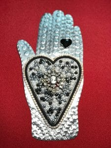 This heart and hand project is by Pat V. during a class from Mary Ellen Beads Albuquerque.