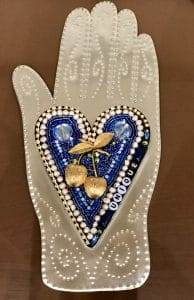 This heart and hand class project is by Jill B. during a class by Mary Ellen Beads Albuquerque.