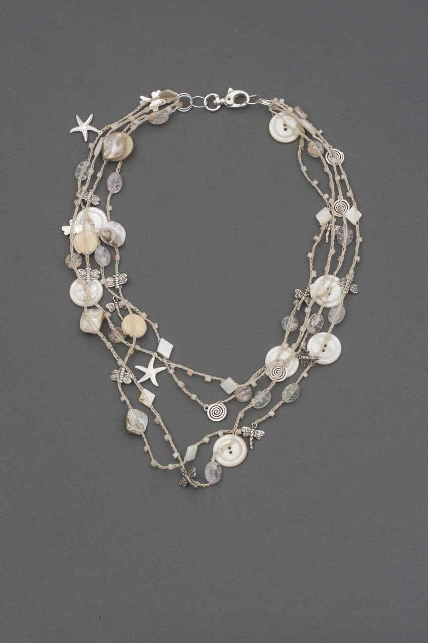 See Whimsical Strands, a bead crochet necklace with buttons and charms from Mary Ellen Beads Albuquerque.