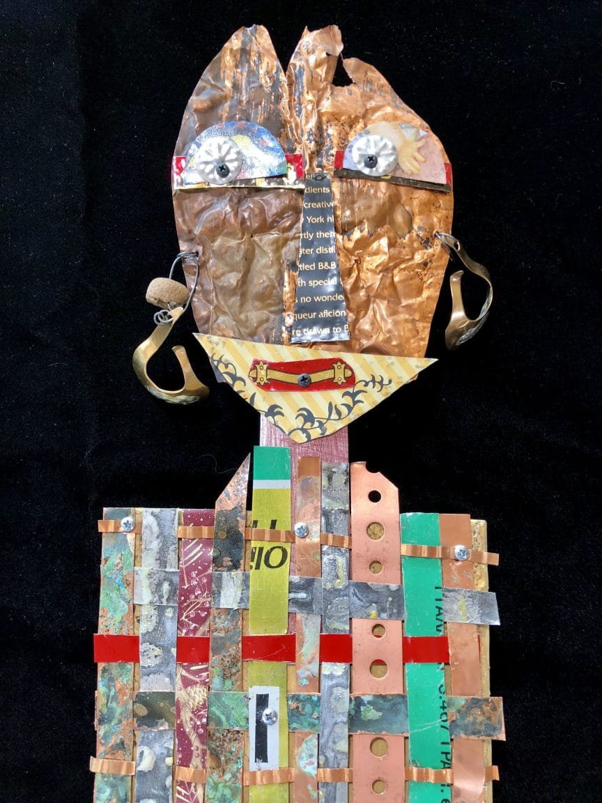 This assemblage a, b, c, was made by Mary Ellen Beads Albuquerque in a class at Art Unraveled 2018 with Leighanna Light of Taos.