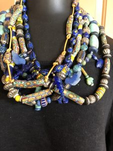 This story with trade beads and blue is part of the studio tour preparation by Mary Ellen Beads Albuquerque.