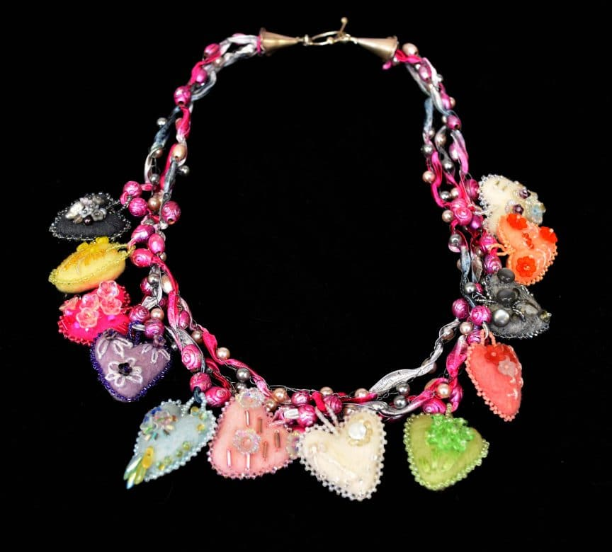 This necklace is the visual representation for Enchanted Heart Frolics by Mary Ellen Beads Albuquerque.