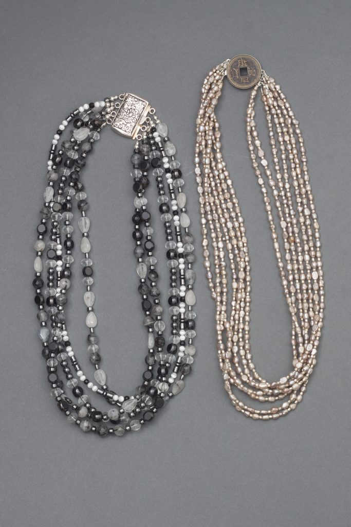 These multi-strand necklaces combine comfort with dramatic looks in a beyond bead trunk show from Mary Ellen Beads Albuquerque.