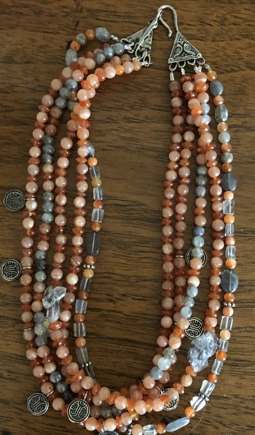 Mary Ellen Beads Albuquerque describes multi-strand purpose in ABC for Beading with this five-strand peach moonstone and labradorite necklace.