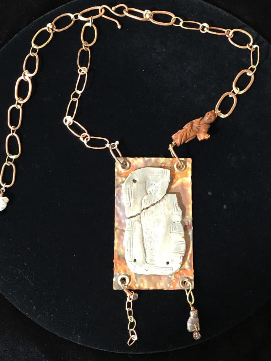 This hand-made chain necklace from Mary Ellen Beads Albuquerque is of red brass and copper