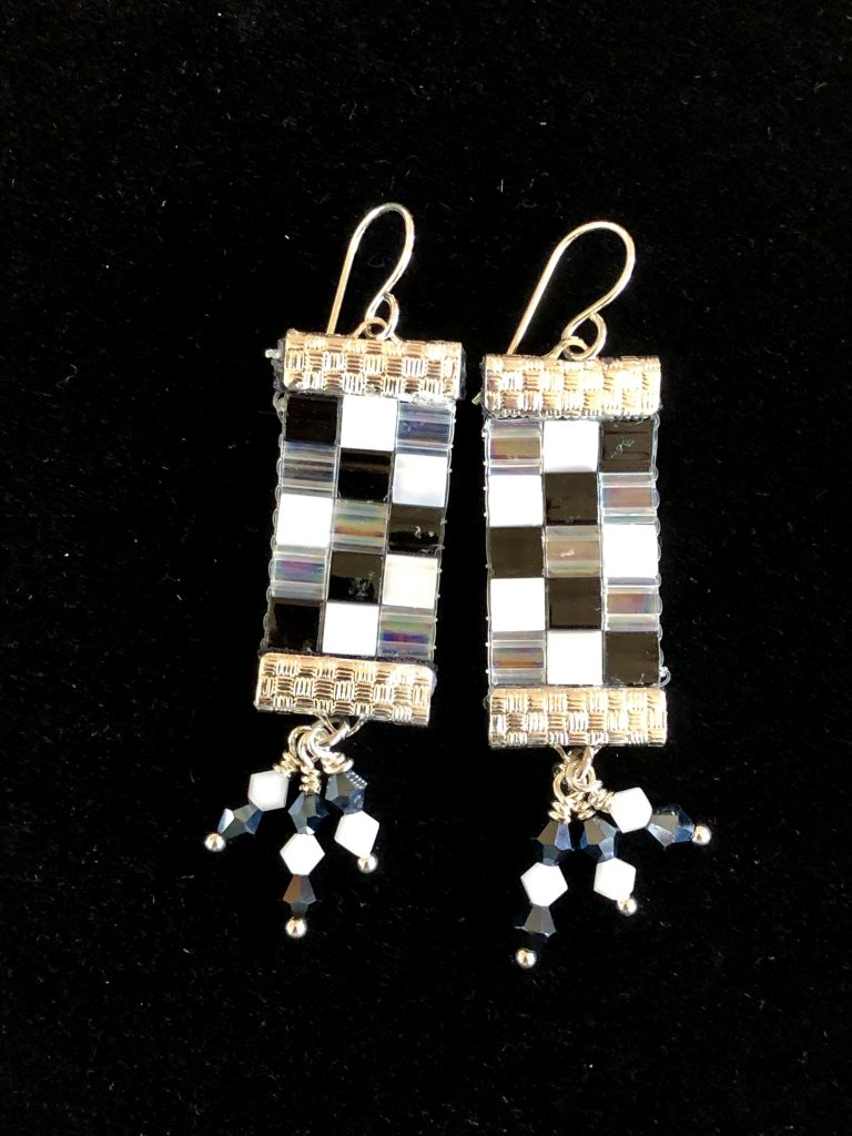 These loom woven earrings are by Mary Ellen Beads Albuquerque.