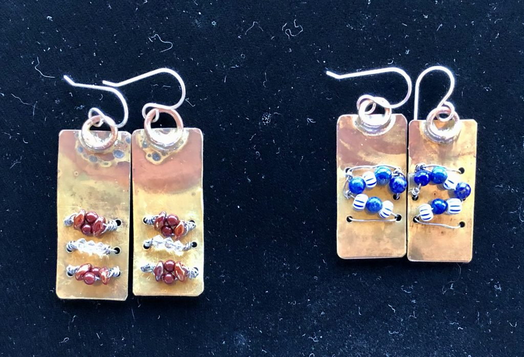 These woven wire and bead earrings are part of an earrings experiment by Mary Ellen Beads Albuquerque.